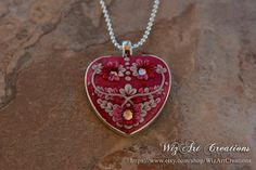 Polymer Clay Floral Heart Necklace with by WizArtCreations on Etsy