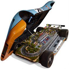 Porsche 917 replica (with a slot car track inside)