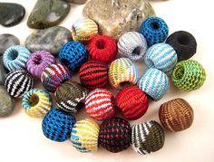 15 Wooden Crochet Beads Herringbone Thread by EthnicBeadShop, $3.18