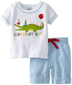 Mud Pie Baby Boys Birthday Boy 2 Piece Alligator Set Multi 12 18 Months ** More info could be found at the image url.