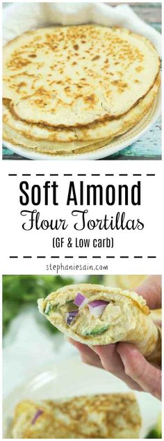These Soft Almond Flour Tortillas are super soft, pliable and perfect for all yo. Soft Almond Flour Tortillas are super soft, pliable and perfect for all yo. Healthy Low Carb Recipes, Low Carb Dinner Recipes, Keto Recipes, Snack Recipes, Dessert Recipes, Dishes Recipes, Healthy Food, Vegan Dishes, Gluten Free Recipes Low Carb