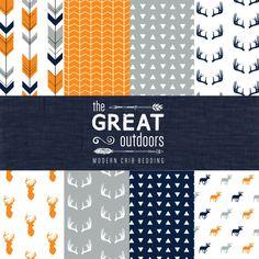 The Great Outdoors Crib Bedding Set - Modern Woodland Custom Crib Bedding - Navy/Orange/Grey - Choose your fabric - CozybyJess Exclusive