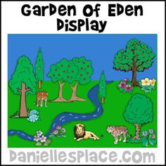 Garden of Eden Bulletin Board Sheet from www.daniellesplace.com for Children's Sunday School