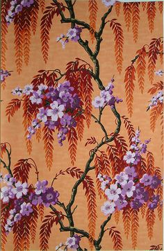 Sidewall sample   France, circa 1930   Machine-printed paper   Flowering cherry tree branches with weeping foliage. Printed in purple, dark red, orange, violet, black and gold on an orange mottled ground   Cooper-Hewitt