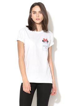 Tricou alb cu imprimeu negru cu rosu Minnie - Disney