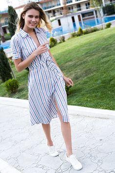Kadın Mix Çizgili Gömlek Elbise