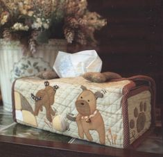 Description :    Puppy Tissue Box cover.    This pattern is very suitable for beginners.    Easy print out with A4 paper (real size pattern).