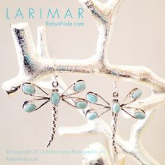 Dragonfly Merchandise | Larimar Dragonfly Earrings-Beautiful Larimar Gifts