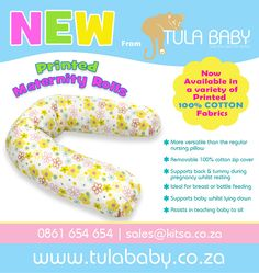 Tula Baby maternity rolls are now available in a variety of printed 100% Cotton fabrics