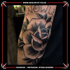 Black and grey rose on elbow. Designed and Tattooed by: Tadeja Dragon Tattoo Black And Grey Rose, Black Rose Tattoos, Tattoo Portfolio, Grey Roses, First Tattoo, Color Tattoo, Dragon, Hair, Dragons
