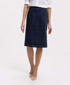 Falda azul marino troquelada LASSERRE