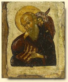 Detailed view: Saint John in Silence- exhibited at the Temple Gallery, specialists in Russian icons Religious Images, Religious Icons, Religious Art, Church Icon, John The Evangelist, Classical Antiquity, Russian Icons, Byzantine Art, John The Baptist