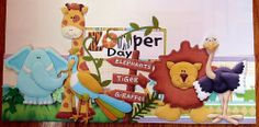 Premade Scrapbook Page Border 'Zooper Day' boy, girl, kids, zoo trip