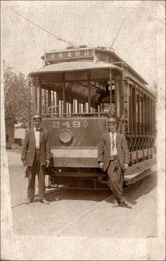 Vintage postcard: Akard streetcar, Dallas, Texas, circa 1910
