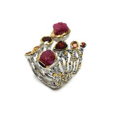Ring mit Rubin Rohstein Druzy Ring, Heart Ring, Jewellery, Sapphire, Grenades, Gold Paint, Beads, Stones, Silver