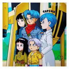 Bulma, Future Trunks, Future Mai, kid Trunks, and kid Mai Dbz, Goku, Vegeta And Bulma, Trunks And Mai, Vegeta And Trunks, Dragon Ball Z, Manga Dragon, Fan Art, Disney Marvel