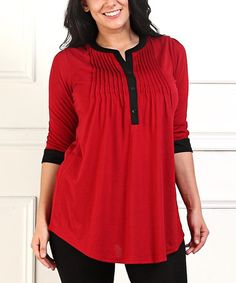 Love this Red & Black Notch Neck Tunic - Plus on #zulily! #zulilyfinds