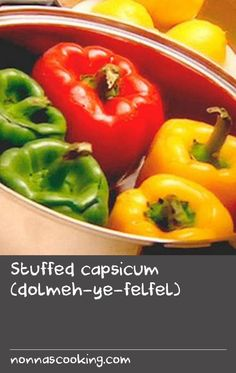 This Persian recipe for capsicum stuffed with lamb is perfect when entertaining, and they make a colourful addition to any banquet. For a Greek twist on this simple yet hearty dish, watch the video recipe of Mamma's stuffed capsicum with garlic dressing. Capsicum Recipes, Green Pepper Recipes, Garlic Recipes, Fish Recipes, Greek Fish Recipe, Greek Lamb Recipes, Greek Dishes, Cress, Stuffed Sweet Peppers