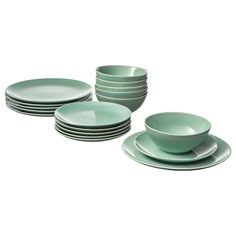 IKEA - FÄRGRIK, dinnerware set, light green, The dinnerware's simple, functional design is easy to coordinate with other colors and shapes - and makes FÄRGRIK the perfect base for many types of meals. Includes: Plate side plate and bowl dia. Kallax, Ikea Dinnerware, Tableware, Green Dinnerware, Vert Turquoise, Four Micro Onde, Ikea Family, Color Glaze, Herd