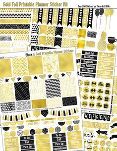 Gold Foil Printable Planner Stickers Kit for Erin Condrin Planner EC Happy Planner Black & Gold Elegance  #gold #black #newyears #planner #kit #decoration #stickers #organization #elegant #foil #digital #printable #digiscrapdelights #pomplanner