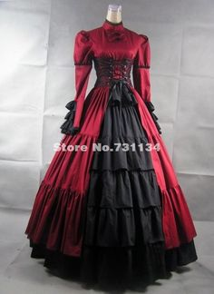 Cheap dress rock, Buy Quality party casual dress directly from China dress college party Suppliers: 2015 Brand New Floral Print Medieval Dress Women Renaissance Gothic Stempunk Victorian Dress Southern Belle Party Dresse