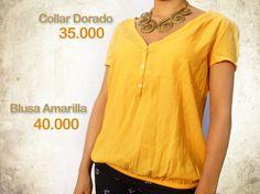 Blusa manga corta amarilla $40.000