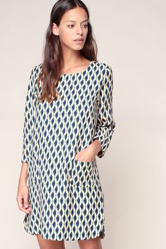 Bedruckte Kleider - h16c03155 - Weiß / Naturfarben - Suncoo