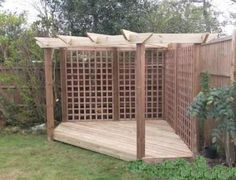 The pergola kits are the easiest and quickest way to build a garden pergola. There are lots of do it yourself pergola kits available to you so that anyone could easily put them together to construct a new structure at their backyard. Pergola D'angle, Pergola With Roof, Wooden Pergola, Pergola Shade, Pergola Ideas, Steel Pergola, Pergola Lighting, Covered Pergola, Corner Deck