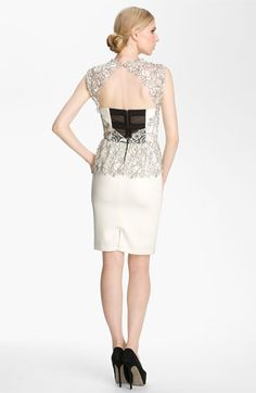 Alice + Olivia 'Shovan' Lace Overlay Peplum Dress | Nordstrom  Love the concept.  Would make the inset in reverse lace:  ie:  Primary black/accent cream.
