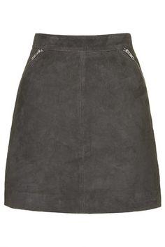 TALL Exclusive Suede Zip Skirt // TOPSHOP