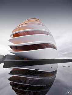 Amazin_ architectures Lajered Droplets architectural concept by Benjamin Springer/Exorbitant,inspired by music from Ackost. Layered Architecture, Concept Architecture, Futuristic Architecture, Sustainable Architecture, Amazing Architecture, Contemporary Architecture, Architecture Design, Interesting Buildings, Amazing Buildings