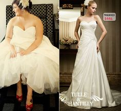 Ruched Strapless Sweetheart Neckline A-line Plus Size Wedding Gown