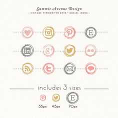 INSTANT DOWNLOAD  Type Writer Keys Social Icons di summitavenue, $6.00