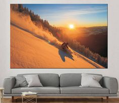 Snow Skiing motivational Print on Canvas for Wall Decoration