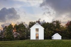 Cutler Anderson's Farmhouse in eastern Pennsylvania has just received a prestigious 2017 AIA Housing Award. David Sundberg photographed the project for the architects. Large moveable shutters are an important design feature and cool the house in the summer. There is ground source radiant heat with a wood-fired furnace for the cooler seasons. As with other Cutler Anderson work, the house sits lightly on the site, with minimum interruption of the natural features even during construction.