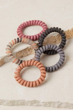 The Amya Hair Coil Set features a set of 5 matte hair ties; 4 solid and 1 striped. Cute Jewelry, Jewelry Accessories, Coil Hair Ties, Hair Supplies, Accesorios Casual, Its My Bday, Diy Hairstyles, Scrunchies, Outfits For Teens