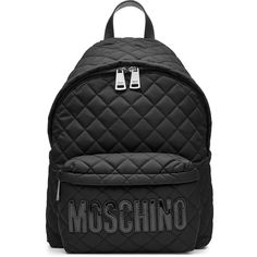 Moschino Quilted Backpack (€640) ❤ liked on Polyvore featuring bags, backpacks, black, moschino backpack, backpack bags, urban backpack, knapsack bag and top handle bags