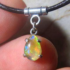 Teardrop Opal Pendant Welo Opal Sterling Silver by KJOFineArt, $49.95