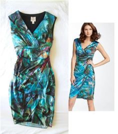 SUZY CHIN MAGGY BOUTIQUE Blue Art Print Ruched Wrap Effect Silk Sheath Dress 4 S