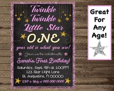 19 Ideas For Party Invitations Girls Twinkle Twinkle First Birthday Invitations, Party Invitations, Invite, Kids Party Snacks, Outdoor Party Lighting, Paper Party Decorations, Activities For Girls, 21st Party, Birthday Chalkboard