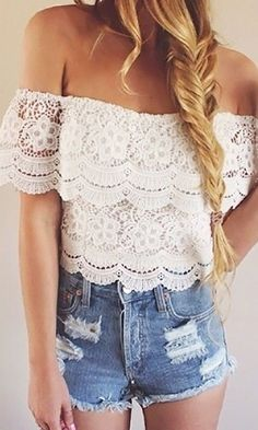 60305008697973 Off Shoulder Top - White  Lace Jean Shorts