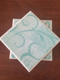 Teal coasters ceramic tile coasters blue by KCstylejewelry on Etsy