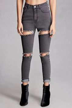 grey ripped cotton skinny fit jeans