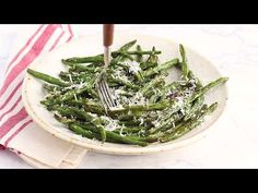 Roasted Green Beans topped with Parmesan come out perfectly charred and tender – SO good, I can literally eat the whole batch!