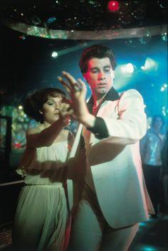 John Travolta and Karen Lynn Gorney in 'Saturday Night Fever', 1977.