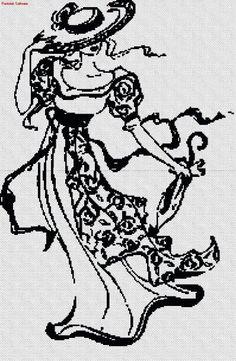 point de croix femme vintage - cross stitch silhouette vintage woman