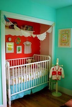 Smart idea if you don't have a guest room in your home.  Put baby's crib in closet, make closet bright & fun and then have enough room for a guest bed!  Pretty sure our closets are not actually big enough to do this, but I like the idea.
