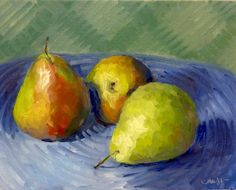 Succulent Pears Original Still Life Oil Painting by RenderedImpressions on Etsy