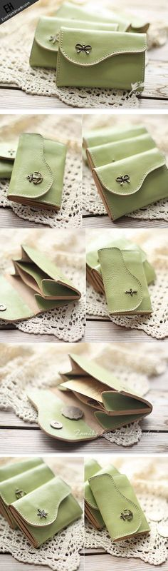 Handmade light green cute leather small change coin wallet pouch purse | EverHandmade