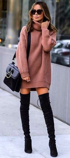 #winter #outfits brown sweater ; black thigh-high boots